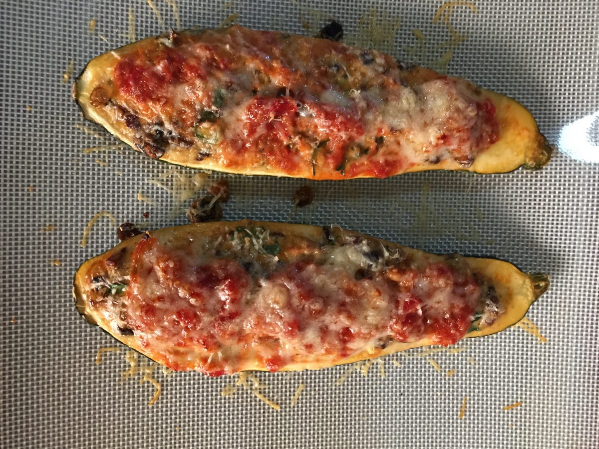 Tomato & Mushroom Salsa Stuffed Zucchini cooking- meals- for- one