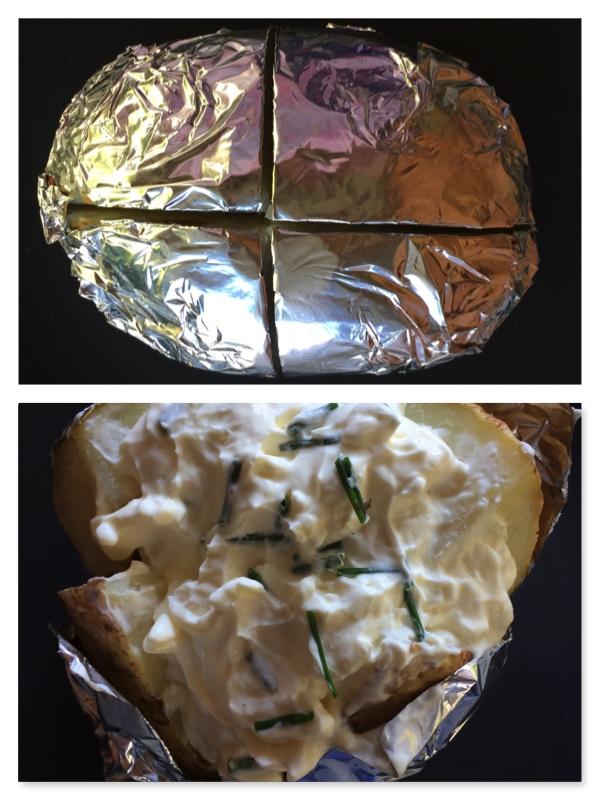 Baked Jacket Potato in Foil by cookingmealsforone.com
