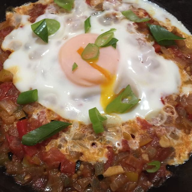 Poached Egg in Spicy Capsicum Tomato Sauce, SHAKSHUKA by cooking meals for one