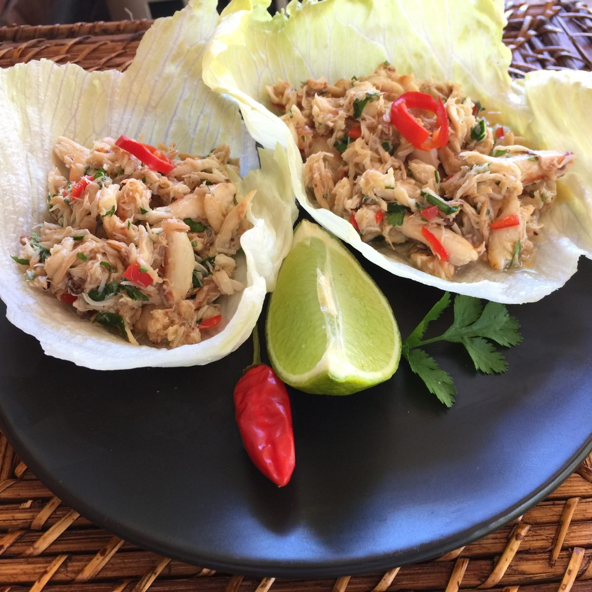 Asian Crab Lettuce Cups by cooking meals for one