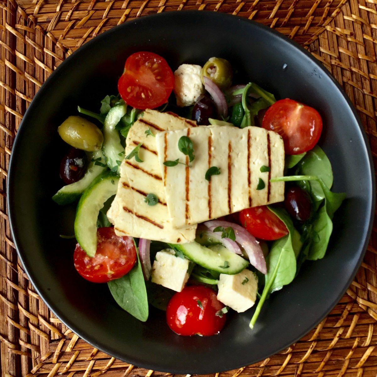 Haloumi Greek Salad by cookingmealsforone.com