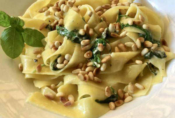 Creamy Lemon Pasta with toasted pine nuts, lemon juice, rocket, basil and parmesan cheese